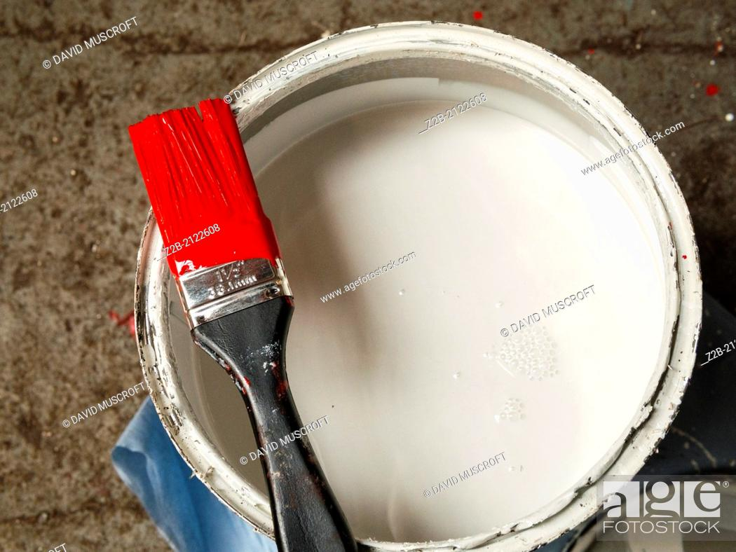 Stock Photo: White paint tin with a paint brush holding red paint.
