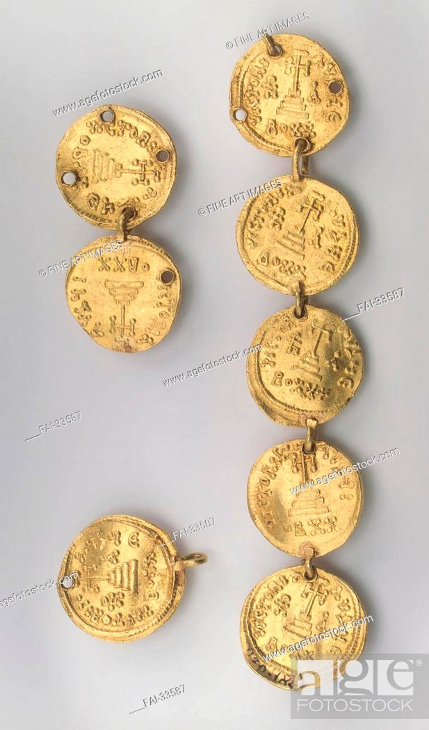 Stock Photo: Fragment of a Necklace Consisting of Eight Byzantine Coins by Khazar culture /Gold/Applied Arts/637-646/Turkic Khaganate/State Hermitage, St.