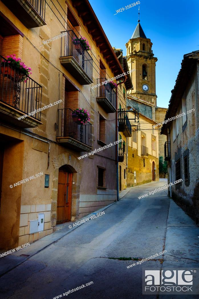 Stock Photo: A street in Adahuesca, Huesca, Aragon, Spain.