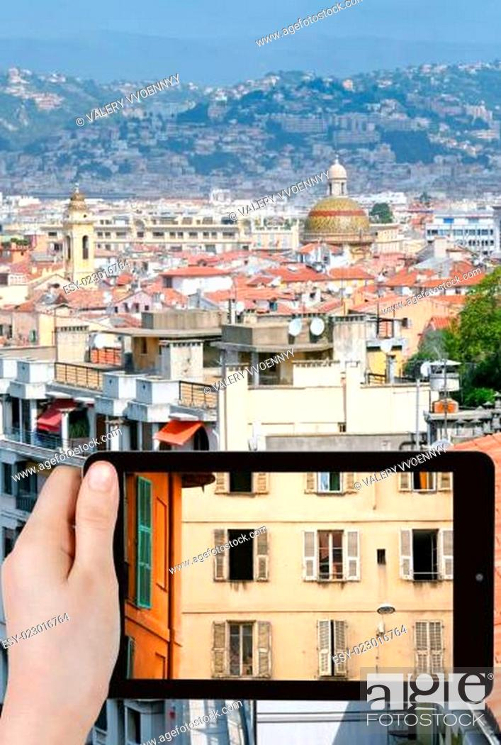 Stock Photo: tourist photographs of old town of Nice, France.