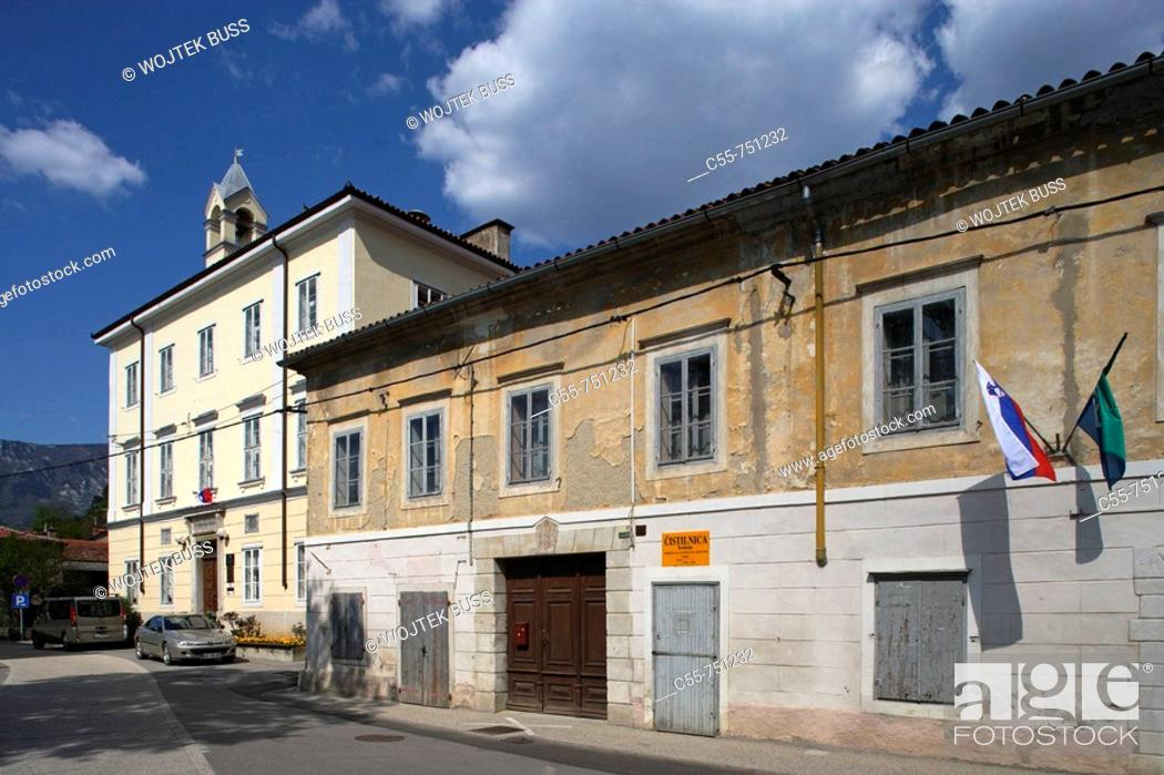 Stock Photo: Typical houses in old town, Vipava, Slovenia.