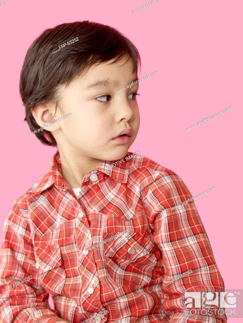 Stock Photo: Asian boy wearing a checked shirt.