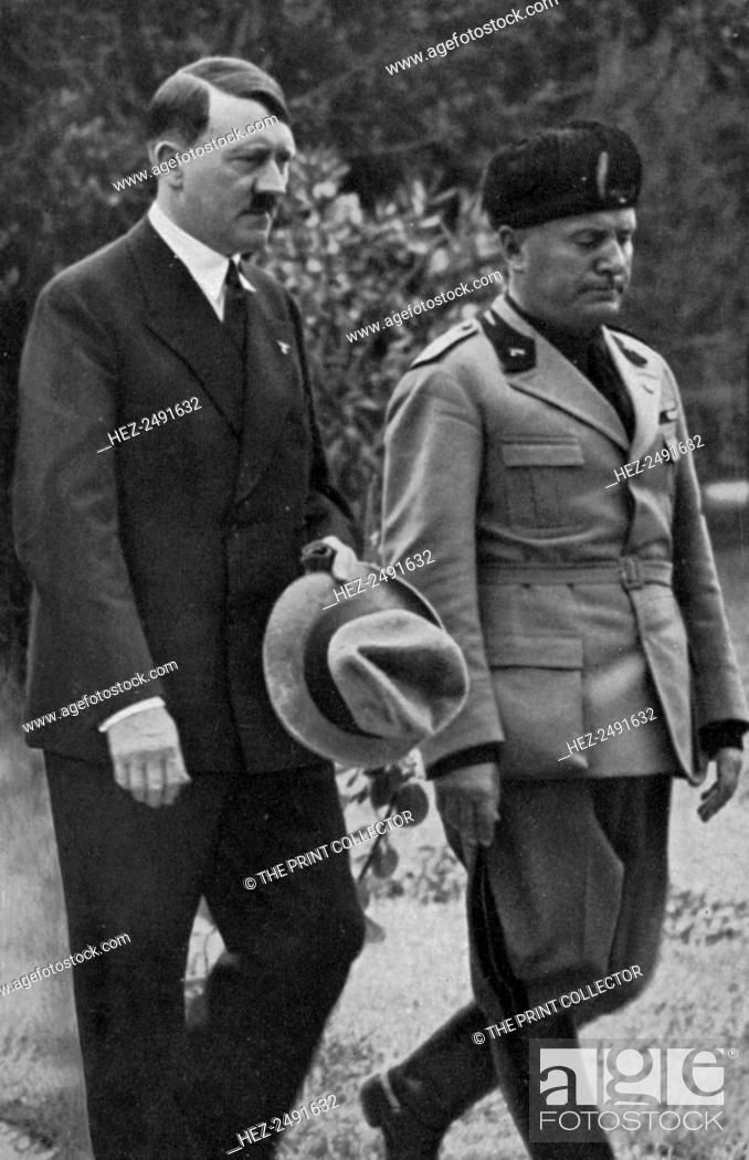 Stock Photo: Meeting between Hitler and Mussolini, 1934. German Nazi leader Adolf Hitler (1889-1945) with Italian fascist leader Benito Mussolini (1883-1945).