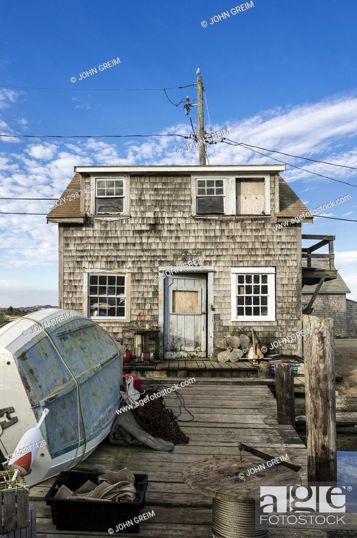 Stock Photo: Rustic fishermans shack, Menemsha, Chilmark, Martha's Vineyard, Massachusetts, USA.