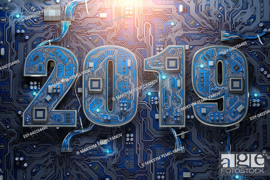 Imagen: 2019 on circuit board or motherboard with cpu. Computer technology and internet commucations digital concept. Happy new 2019 year. 3d illustration.