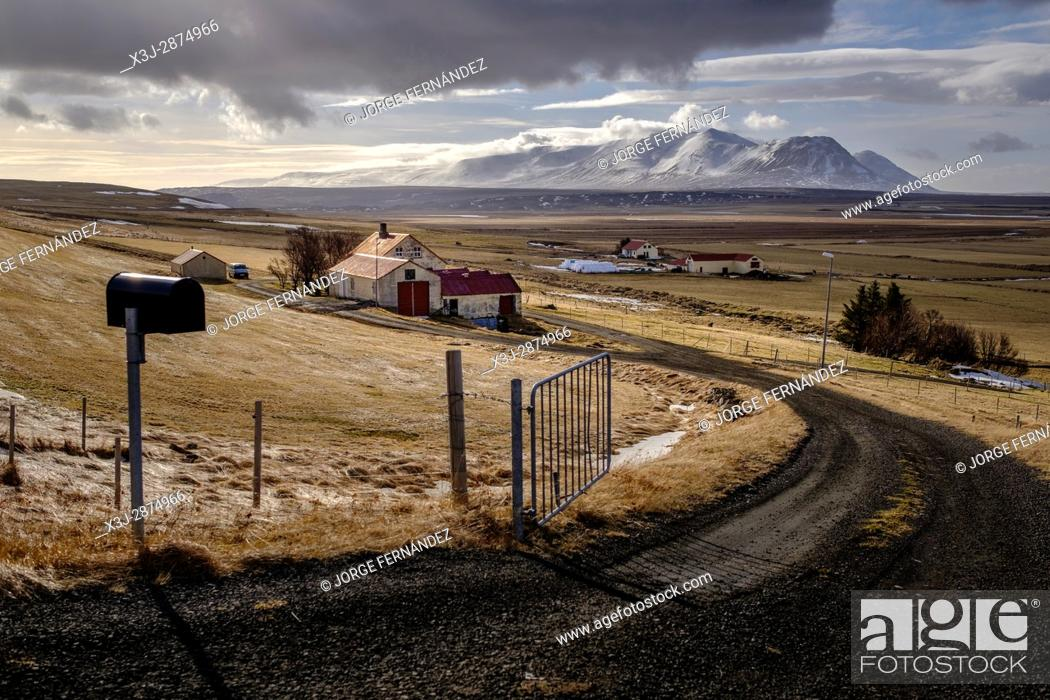 Stock Photo: Rural farms are scattered throughout Iceland.