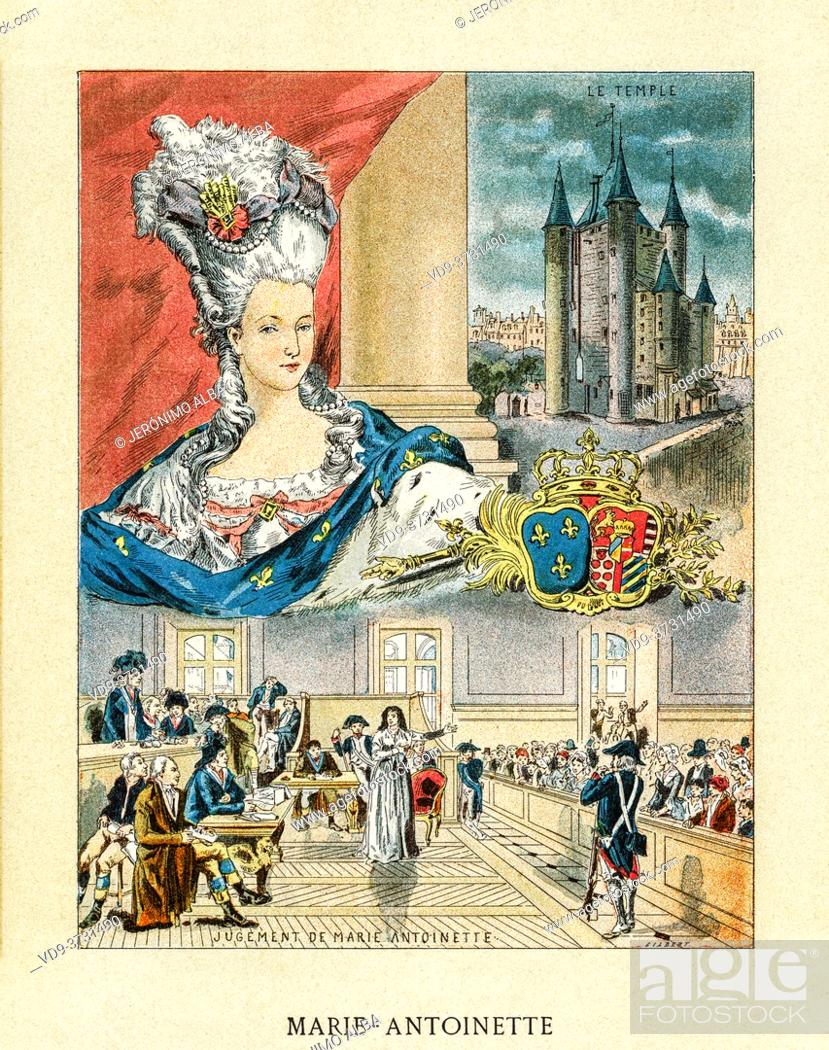 Stock Photo: Old color lithography portrait of Marie-Antoinette Josèphe Jeanne de Habsbourg-Lorraine (1755-1793) killed by guillotine on October 16.