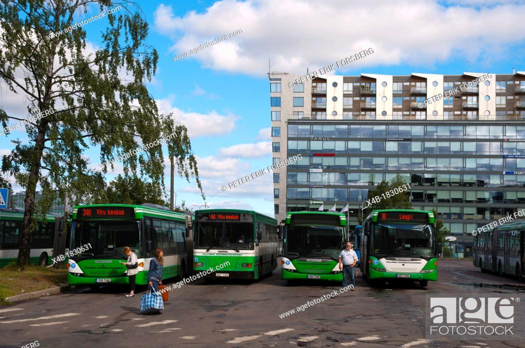 Stock Photo: Bus depot along Habujama street central Tallinn Estonia Europe.