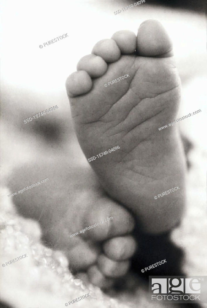 Stock Photo: Close-up of the soles of a baby's feet.