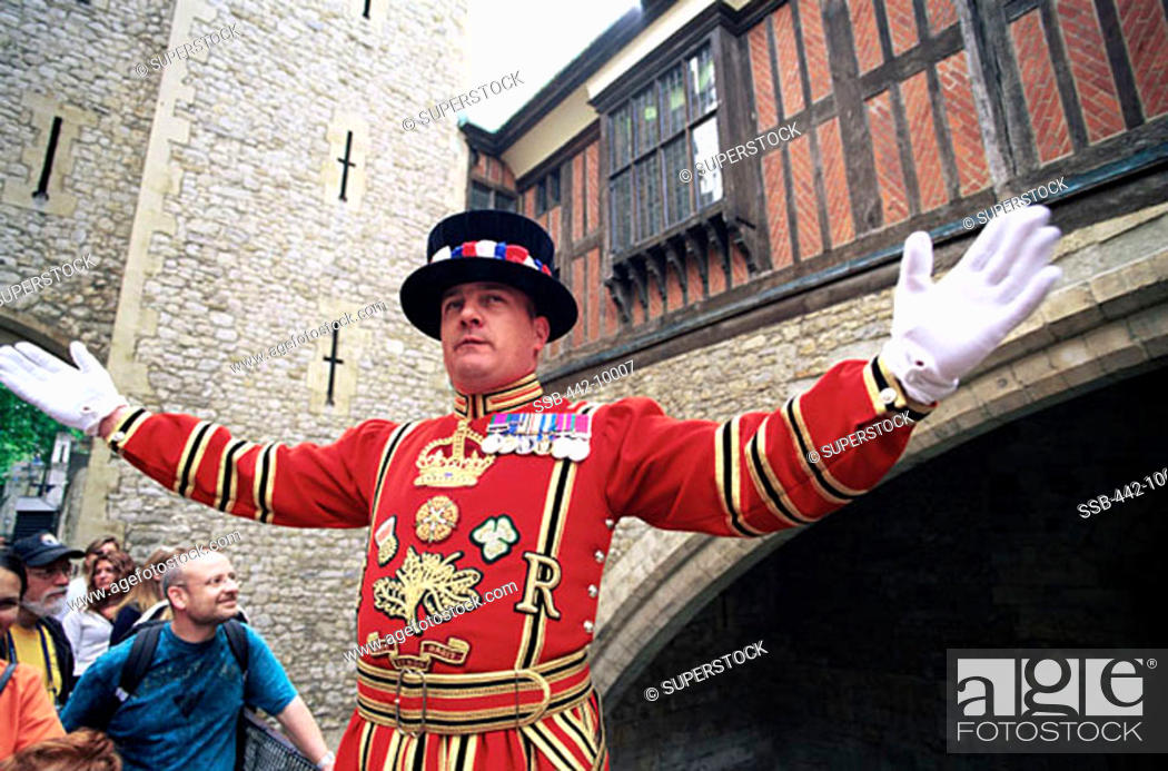 Stock Photo: Beefeater Tower of London London, England.