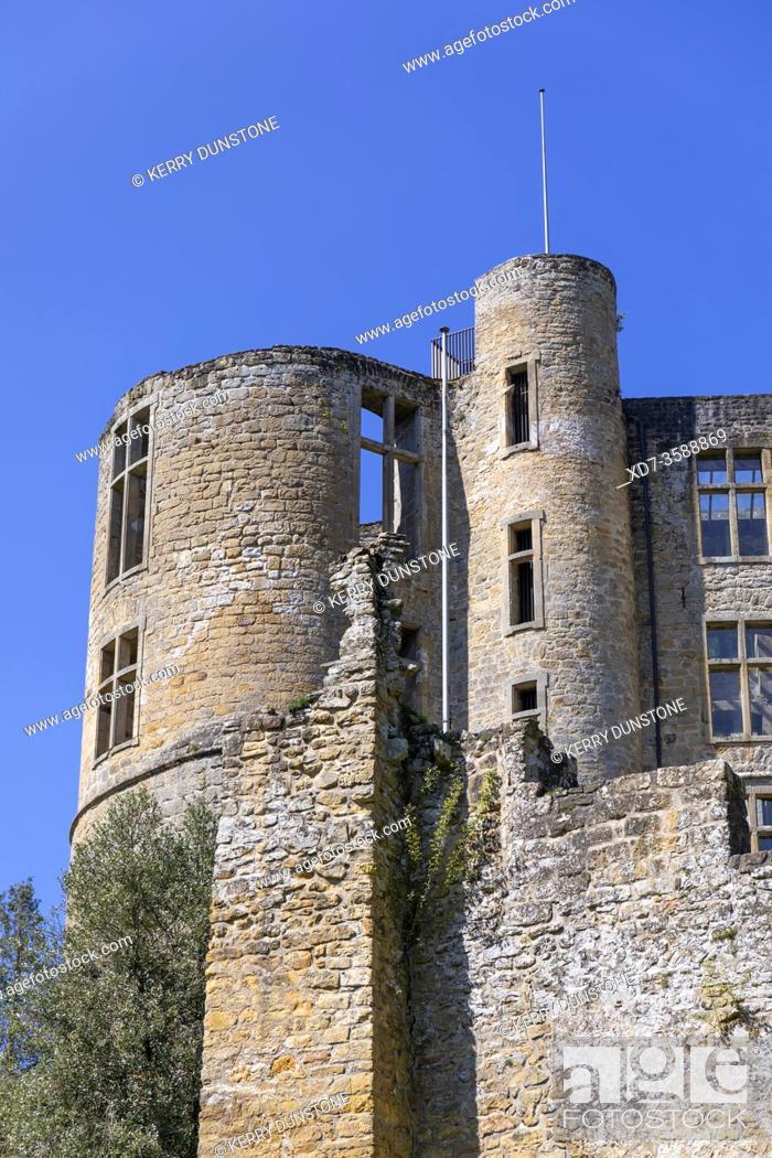 Stock Photo: Europe, Luxembourg, Grevenmacher, Beaufort Castle (Detail of Renaissance Building).