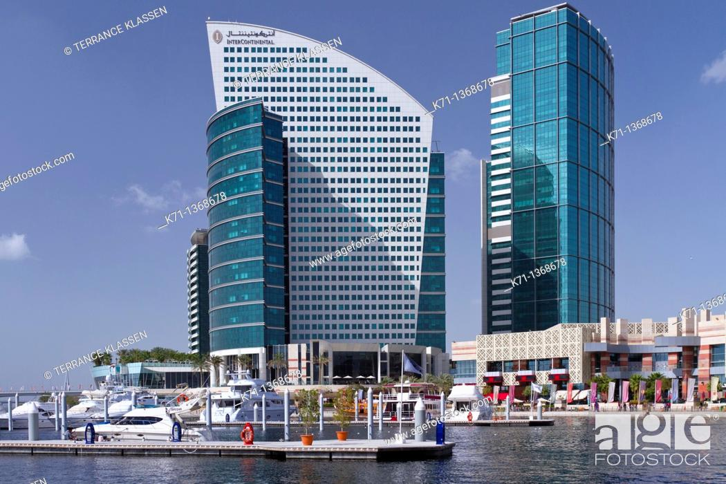 Stock Photo: The Festival City marina with the Intercontinental Hotel in Dubai, UAE, Persian Gulf.