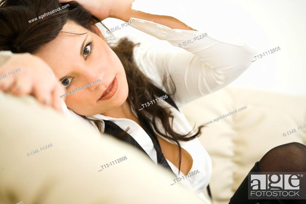 Stock Photo: Looking at camera provocative young woman.