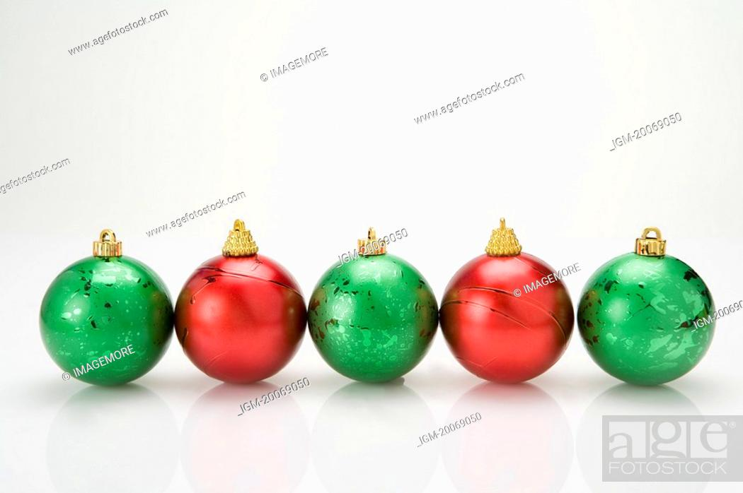 Stock Photo: A row of Christmas Bauble.