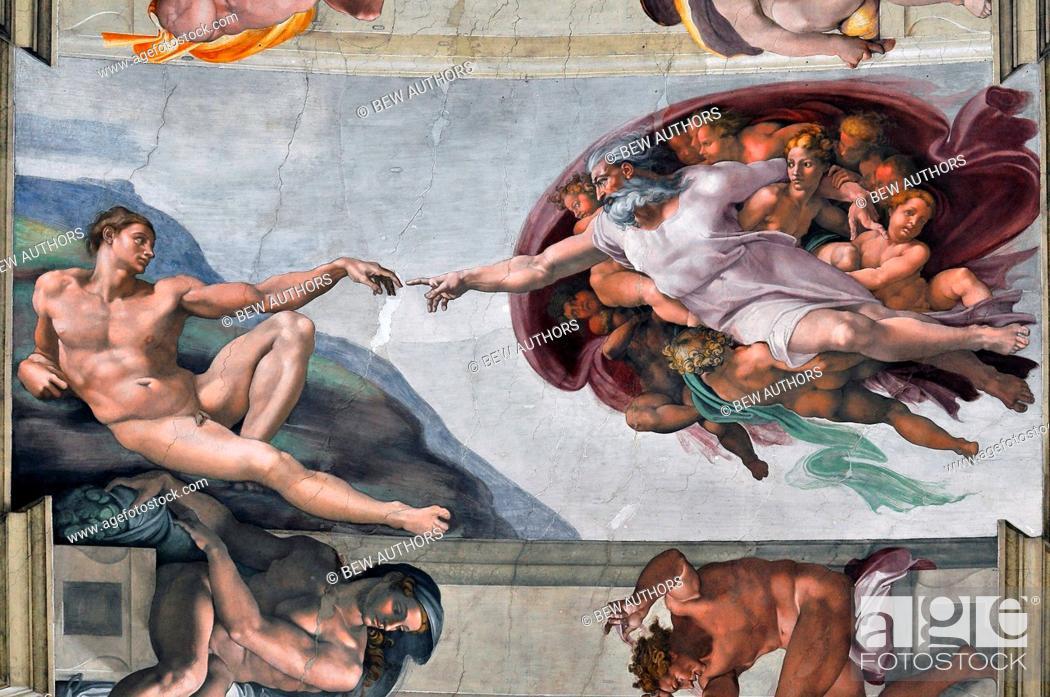 Stock Photo: Italy, Lazio, Rome, Vatica, the Cappella Sistina with Creation of Adam', 1508-1512. Artist Michelangelo Buonarroti.