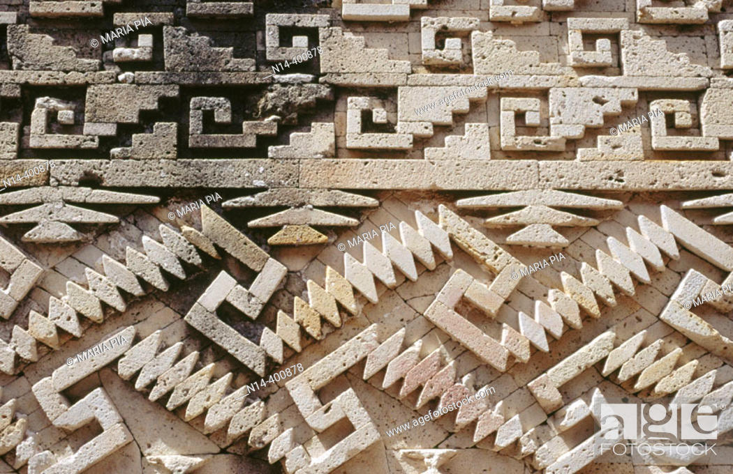 Stock Photo: Detail of decoration at Palace of Columns. Mitla ruins. Mexico.