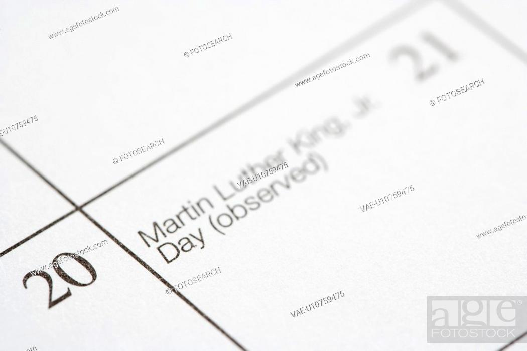 Stock Photo: Close up of calendar displaying Martin Luther King Junior Day.