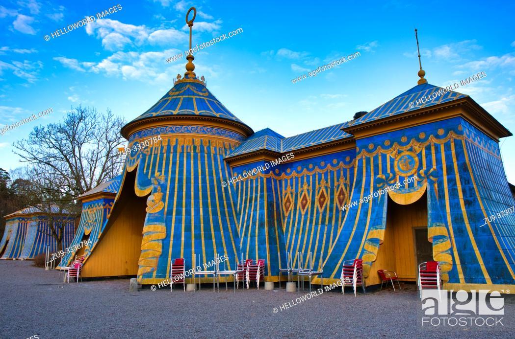 Stock Photo: Sultan's Copper Tents, Hagaparken, Solna Municipality, Stockholm, Sweden, Scandinavia. Designed by painter Louis Jean Desprez and built between 1787-1790.