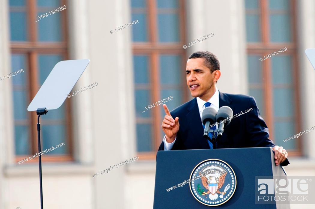 Stock Photo: The US President Barack Obama giving the speech at Prague Castle in Prague, 4 April 2009.