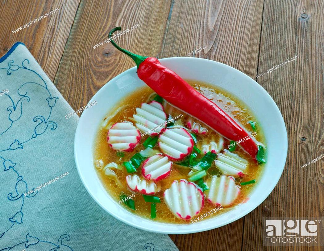 Stock Photo: Posole Rapido traditional soup Mexico.