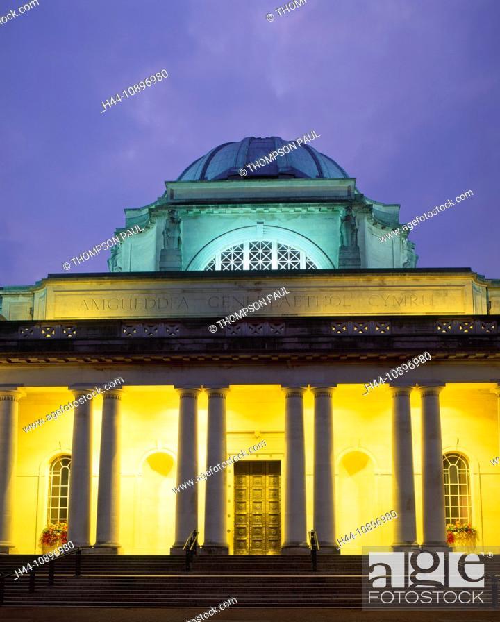 Stock Photo: Cardiff, National Museum, museum, Art Gallery, Wales, night, evening, Glamorgan, capital, city, UK, United Kingdom, Great Britain, EU, Europe, European, nobody.