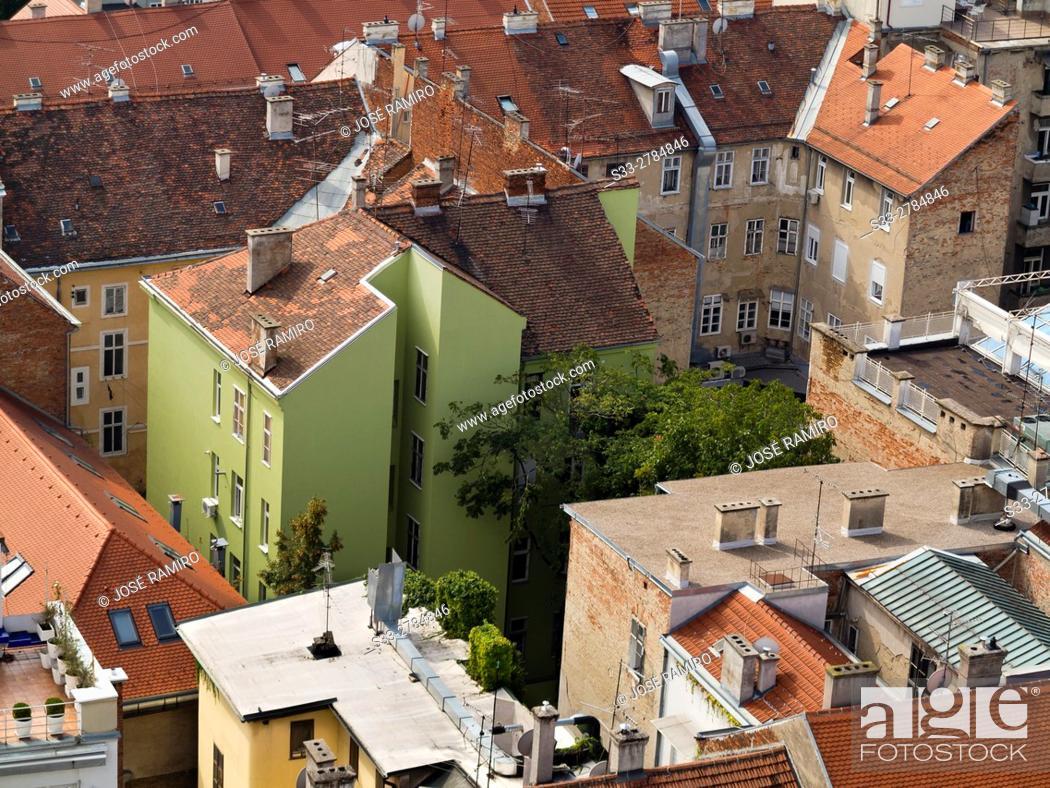 Stock Photo: Zagreb from Zagreb Eye Building. Croatia. Europe.