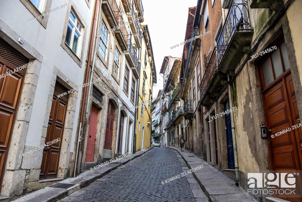 Stock Photo: Narrow Rua de Belomonte Street with residential buildings in Porto city on Iberian Peninsula, second largest city in Portugal.