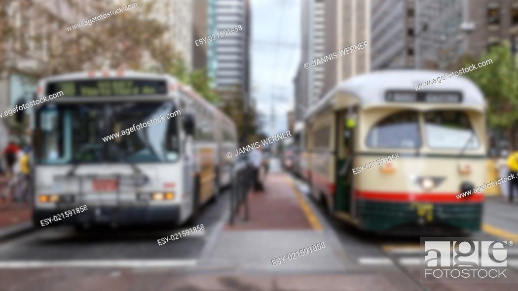 Stock Photo: Blurred background of San Francisco public transportation vehicles.