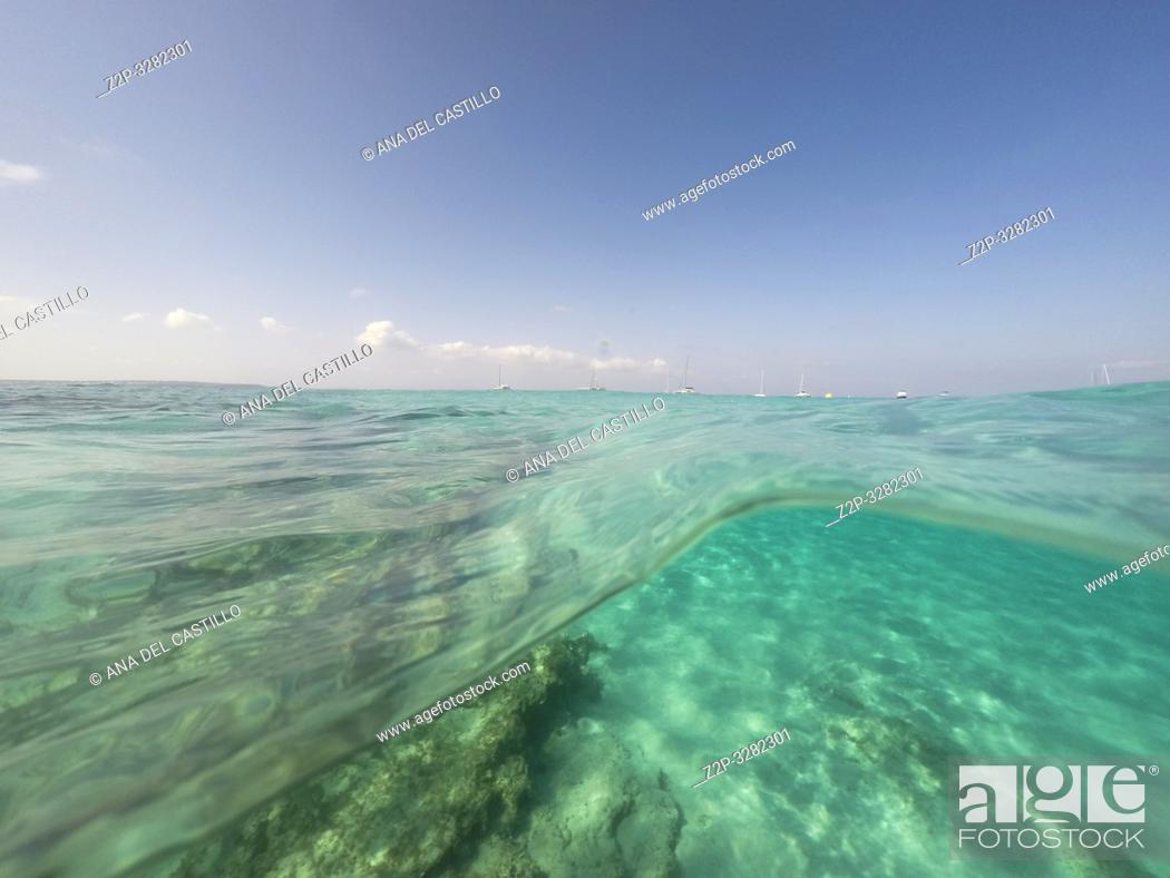Stock Photo: Underwater the turquoise water in El Calo de San Agusti Formentera island Balearics Spain.