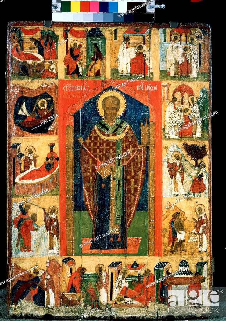 Stock Photo: Saint Nicholas with Scenes from His Life. Russian icon . Tempera on panel. Russian icon painting. Late 15th cen. . State Tretyakov Gallery, Moscow.