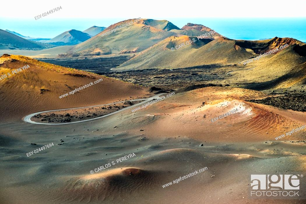 Stock Photo: Timanfaya volcanic area in Lanzarote, Canary Islands, Spain.