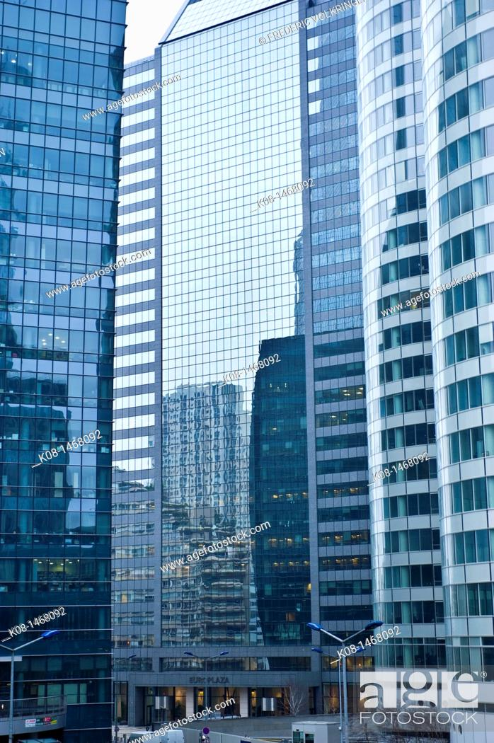 Stock Photo: Tour Total, Total oil company head office in La Defense business district, Paris, France.