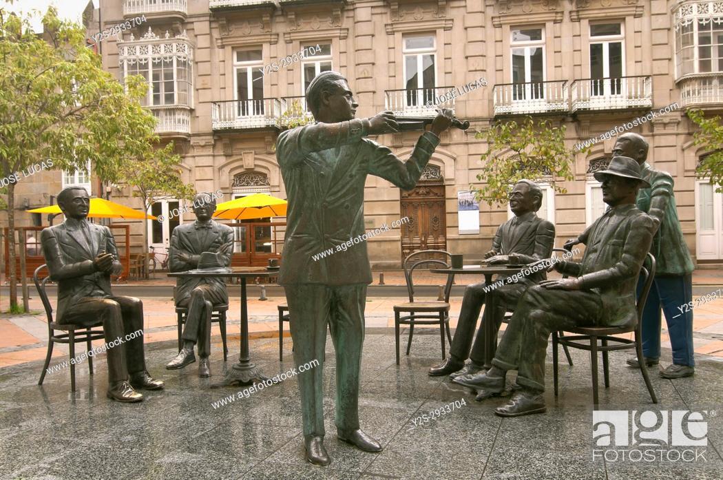 "Stock Photo: Sculpture group """"La Tertulia"""" by Cesar Lombera, Pontevedra, Region of Galicia, Spain, Europe."