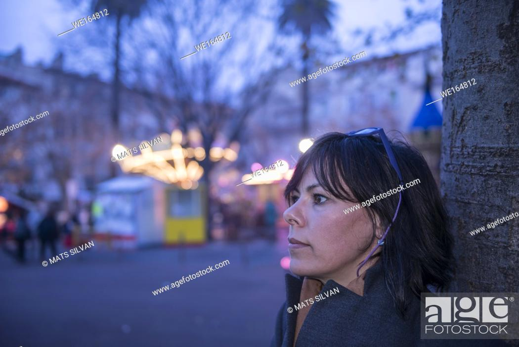 Stock Photo: Woman in Amusement Park in Antibes, France.