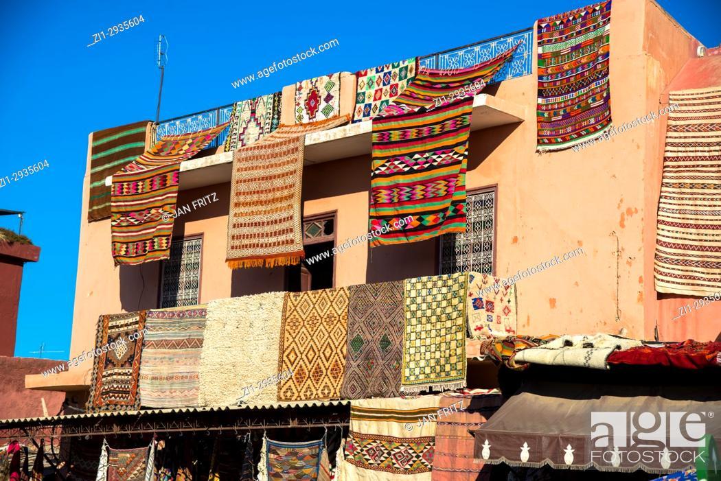 Stock Photo: carpets for sale at place rahba kedima, Marrakesh, Maroc.