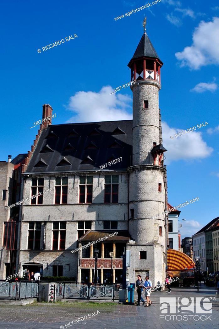 Stock Photo: Belgium, Flanders, Ghent, Market Square, Het Toreken.