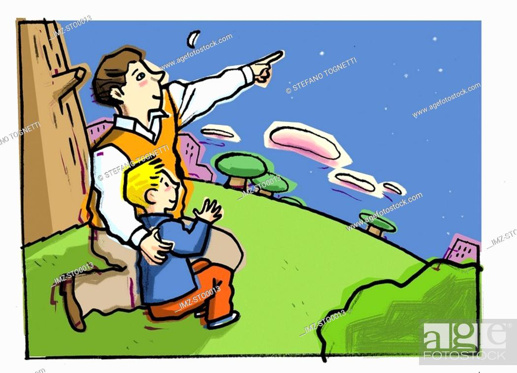 Stock Photo: A father pointing out stars to his little boy.
