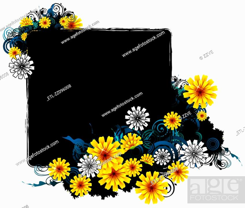 Stock Photo: square frame with flora design.