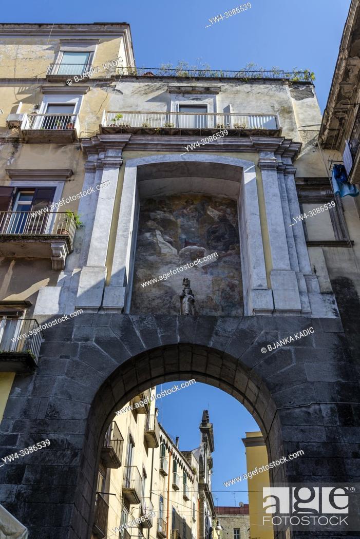 Stock Photo: San Gennaro Gate from 16th century and fresco of Mattia Preti 17th century, one of the gates of the Old Town, Naples, Italy.