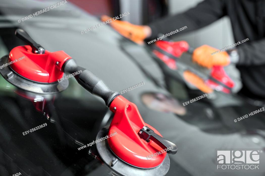 Stock Photo: Auto Glass Repair and Replacement, close up. High quality photo.