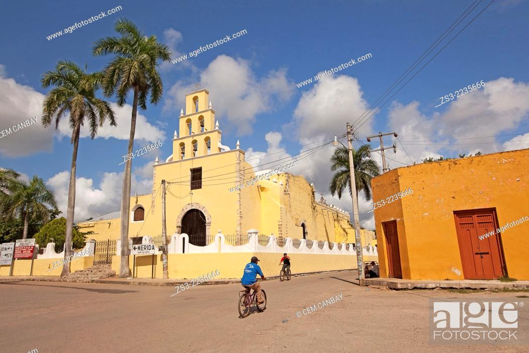 Stock Photo: Franciscan church in Chumayel town, Yucatan Province, Mexico, North America.