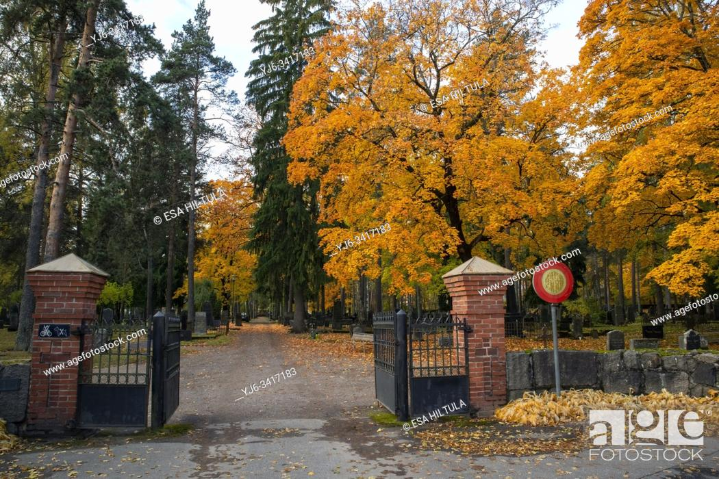 Stock Photo: Cemetery in autumn, Lappeenranta Finland.