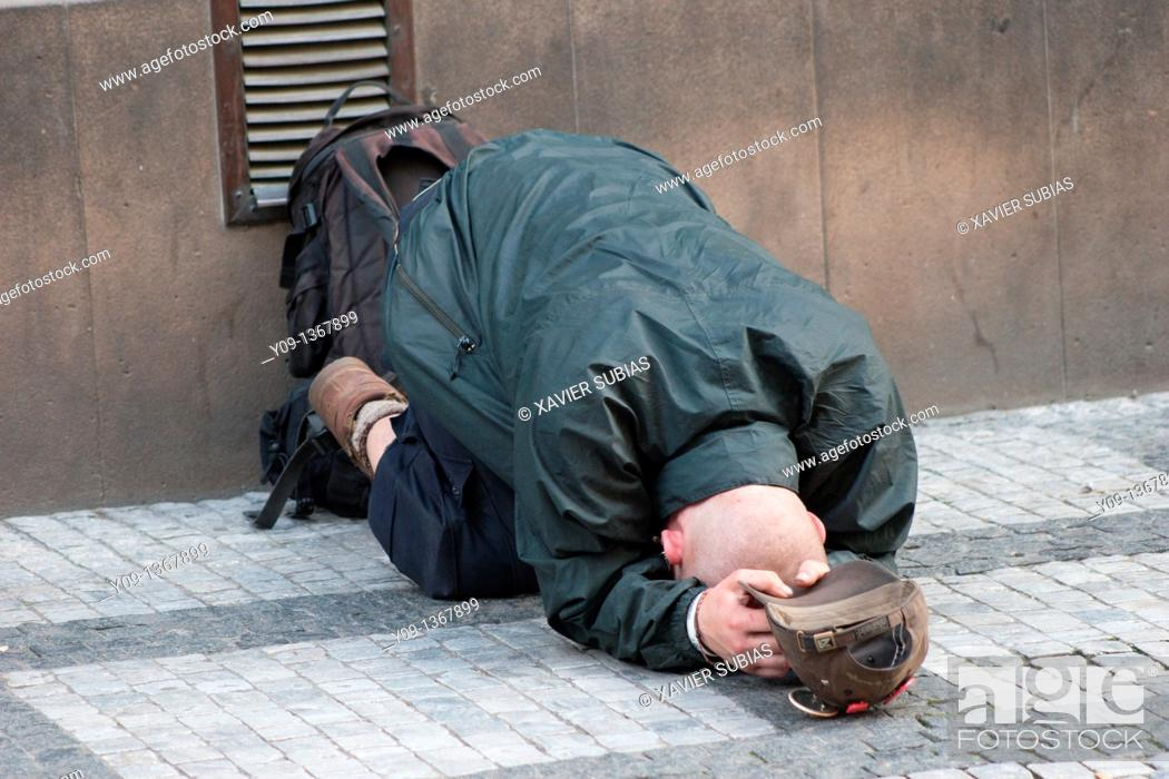Stock Photo: Homeless, Prague, Czech Republic,.