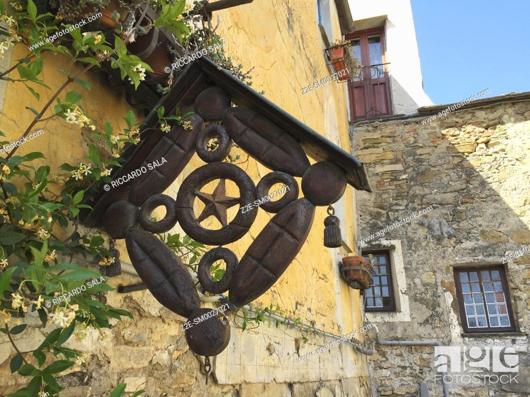 Stock Photo: Italy, Liguria, Colla Micheri, Old Village. . . .