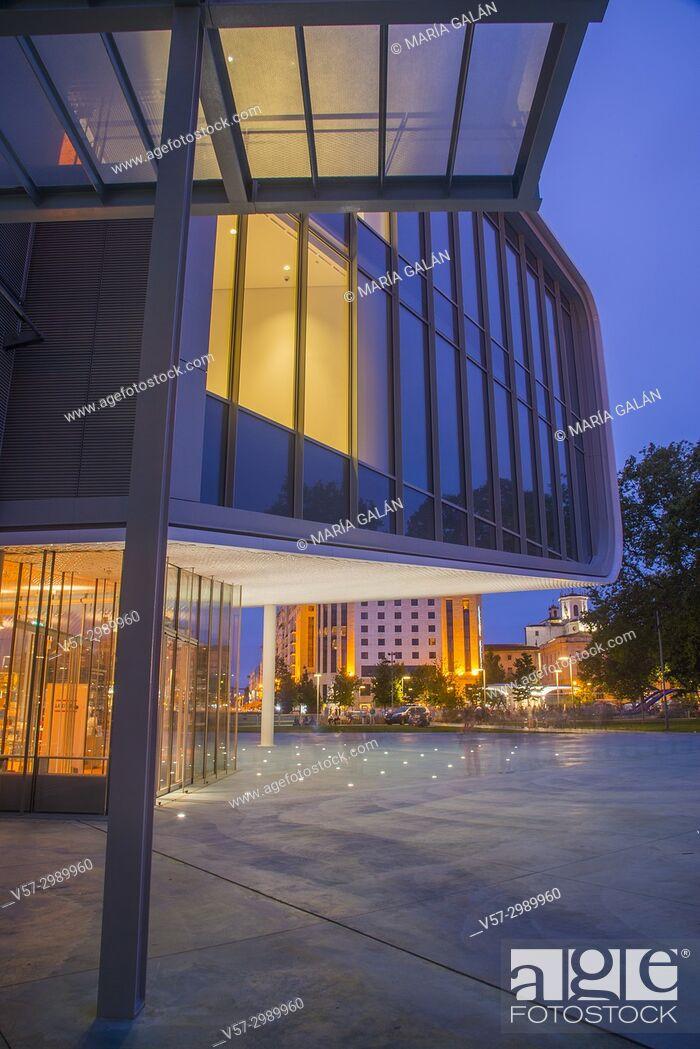 Stock Photo: Botin Center, night view. Santander, Spain.