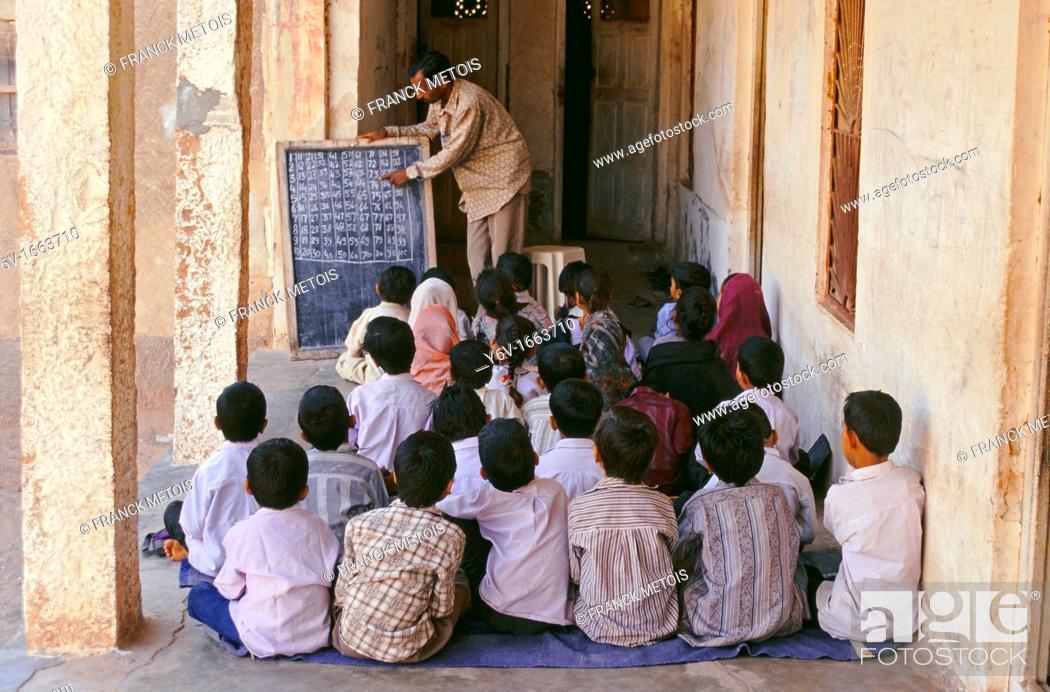 Stock Photo: Arithmetic class in India.