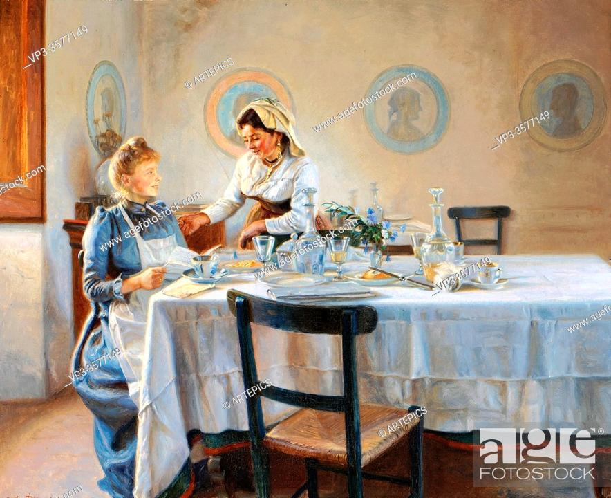 Stock Photo: Tom-Petersen Peter - Efter Frokosten - Danish School - 19th and Early 20th Century.