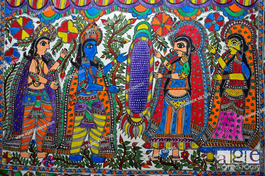 Stock Photo: Madhubani painting ( Bihar, India). The Madhubani ( or Mithila) style of painting is an art form from northern India and southern Nepal.