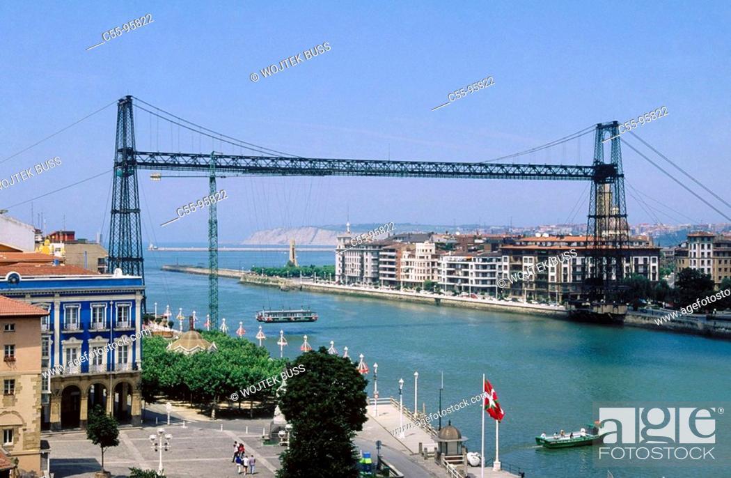 Stock Photo: Spain. Euskadi. Vizcaya. Vizcaya suspension bridge between Las Arenas and Portugalete.