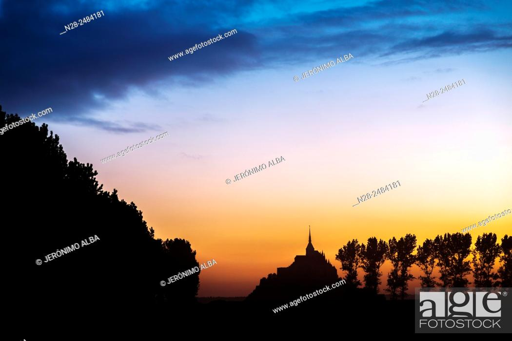 Stock Photo: Mont Saint-Michel Benedictine abbey, Lower Normandy, Manche, France, Europe.